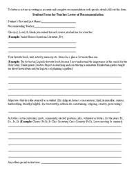 Student Form For Teacher Recommendation Letter And General Tips Tpt