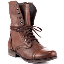 women s shoes steve madden troopa leather lace up combat boots brown