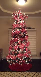 Christmas tree, Christmas, red and white Christmas tree, deco mesh,  peppermint Christmas