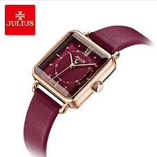 julius brand lady retro red square leather watch woman casual waterproof quartz dress wrisches clock montre femme gift trendy watches affordable watches