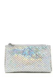 a faux leather makeup bag featuring an iridescent mermaid scale design and a top zipper