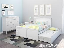 Kids Bedroom Furniture White Dandenong Trundle Bed Double Kids Beds B2c Furniture