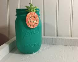 turquoise office decor. Chalk Paint Mason Jar ,turquoise,Pineapple Office Decor ,home Decor, Birthday. Turquoise S