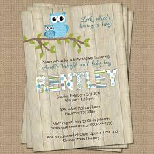 Owl Baby Boy Shower Invitation With Wood Background BlueOwl Baby Shower Invitations For Boy