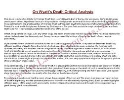 Critical Analysis : On Wyatt's Death