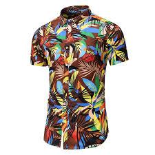 <b>Men'S</b> Floral Floral Print Fashion Large Size Slim Short Sleeve Shirt ...