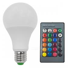 e27 5w 16 color changing rgb led bulb chandelier with 24 key ir remote controller for living room white
