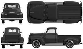 1951 Chevrolet Pickup Truck blueprints free - Outlines