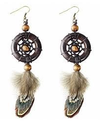 best wing jewelry dream catcher feather w brown wooden beads dangle earrings cz185mdweow
