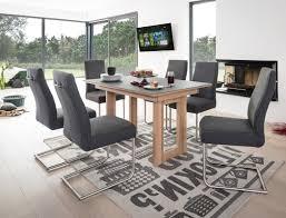 Tisch Kosta Vidrio Grau Eiche Bianco 130x90 6 Stühle Giada Anthrazit