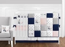 fox patch pink navy crib bedding set by sweet jojo designs 9 piece