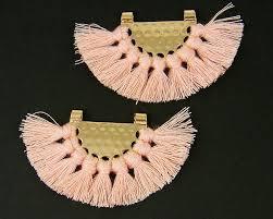pink tassel earrings findings boho pink fringe gold half circle fan pendant bohemian jewelry supply chandelier components trendy p4 12 2