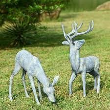 bronze deer pair garden sculptures