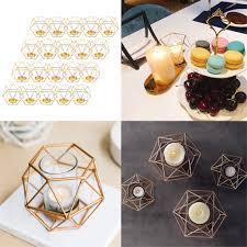 Iron Tea Light Holders Us 66 7 45 Off 20pcs Iron Wire 3d Geometric Candle Tea Light Holder Home Decor Party Supplies For Wedding Christmas New Year Events In Candle