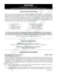 Physical Education Resume Sample Teacher Resume And Cover Letter
