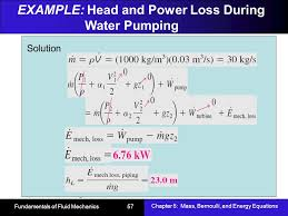 example head and power loss during water pumping