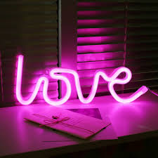 Pink Night Light Led Love Neon Night Light Wall Lamp Holiday Decorations Pink