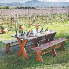 Table With Drink Trough Carneros Picnic Table With Chilling Trough And Benches Wine
