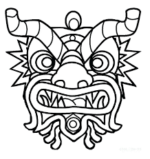 Chinese New Year Dragon Coloring Pages New Year Mask Coloring Pages