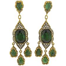 impressive cathy waterman green tourmaline diamond gold chandelier earrings for
