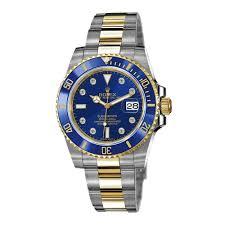 rolex mens submariner blue diamond dial 18k yellow gold two tone prev