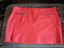 milly nwt c hot pink leather mini skirt fully lined with zippers size 12