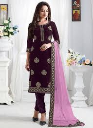 Designer Party Wear Churidar Party Wear Wine Velvet Embroidery Work Churidar Suit 136823