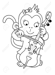 Cute Girl Monkey With Cello Coloring Page Stock Photo Picture And