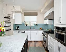 kitchen blue glass backsplash. Blue Colored Glass Backsplash With White Marble Countertop And Best Modern Appliances For Excellent Kitchen Decor Ideas