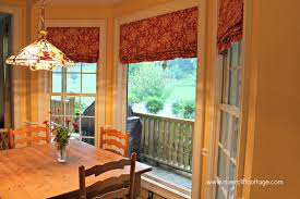 Red Curtains For Kitchen Sliding Glass Door Curtains Ideas Cream Flower Pattern Curtain On