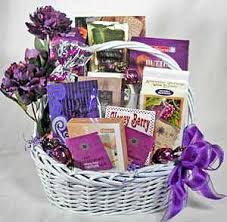 purple and white sympathy gift basket