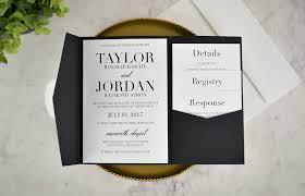 Black And White Invitation Paper Real Diy Wedding Invitation Classic Black White Pocket
