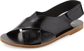 pedro garcia zalea leather crisscross flat sandal black