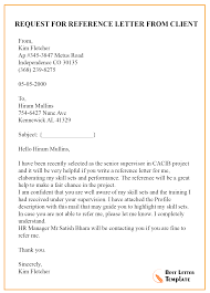 Request Reference Letter Request For Reference Letter From Client Best Letter Template