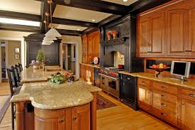 ritzy open kitchen decors with marble countertop large kitchen island with wooden clear varnished kitchen cabinets in modern kitchen designs