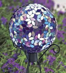 purple mosaic gazing ball with metal stand