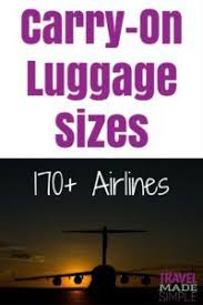 Airplane Size Chart Carry On Luggage Size Chart 170 Airlines Travel Made Simple