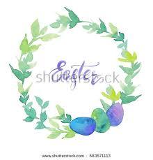 Green Wreath Leaves Eggs Word Easter Stock Illustration 583571113