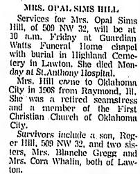 Obituary for Opal Sims Hill - Newspapers.com