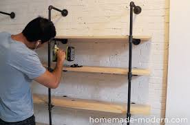 homemade modern diy pipe shelves step 6