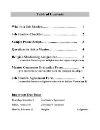 Job Shadow Packet Marian High School