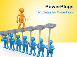 powerpoint template d blue colored men raise stair platform for ppt template he words get help here symbolizing the need to offer support and answers