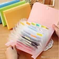 Plastic Candy Color A6 File Folder Small Document Bags Expanding