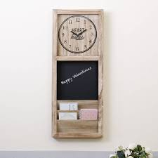 Wall Mounted Letter Rack, Chalkboard And Clock