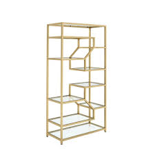 2018 gold bookcases in acme furniture lecanga cube clear gl and gold bookcase 92480 gallery