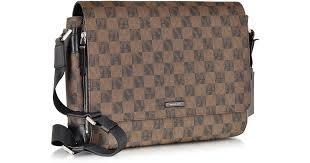 michael kors jet set mens logo large eco leather messenger bag in brown for men lyst