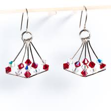 red clear swarovski crystal chandelier earrings