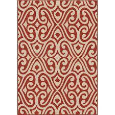 orian rugs indoor outdoor damask scroll santee red area rug 7 8 x 10