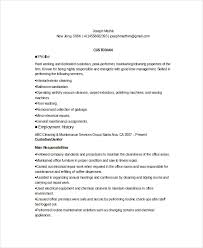 School Custodian Resume