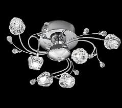 franklite podette 6 light semi flush ceiling light chrome finish with pod shaped glasses glass beads fl2168 6